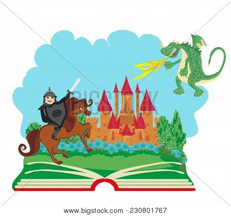 Magic Book With Knight Fighting With Dragon , Vector Illustration