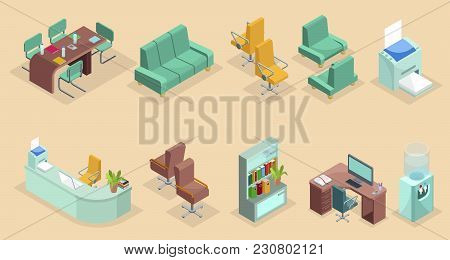 Isometric Office Interior Elements Set With Chairs Table Sofa Stationary Bookshelf Computer Printer