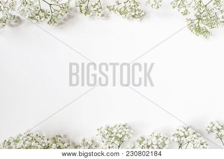 Styled Stock Photo. Feminine Wedding Desktop With Baby's Breath Gypsophila Flowers On White Backgrou