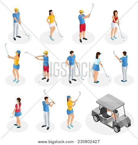 Isometric Golf Players Collection With Cart And Golfers Holding Clubs In Different Poses Isolated Ve