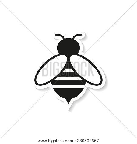 Bee Sticker Icon On The White Background