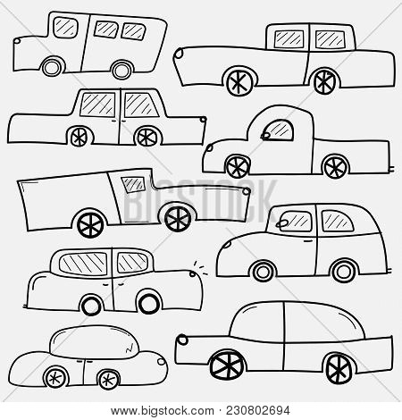 Line Hand Drawn Vector Cars Set. Collection Of Transportation.