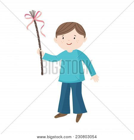 Easter Greeting Card, Invitation. Smiling Little Boy With A Whip And Ribbons. European Czech And Slo