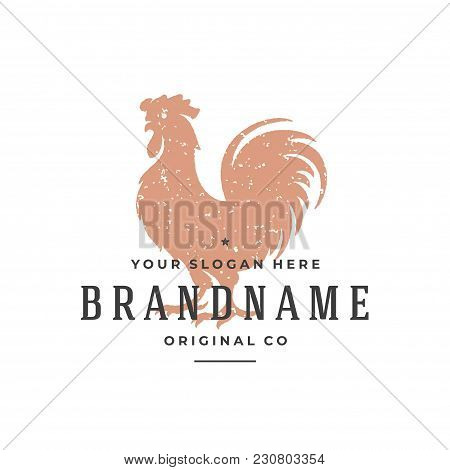 Rooster Hand Drawn Logo Isolated On White Background Vector Illustration For Labels, Badges, T-shirt