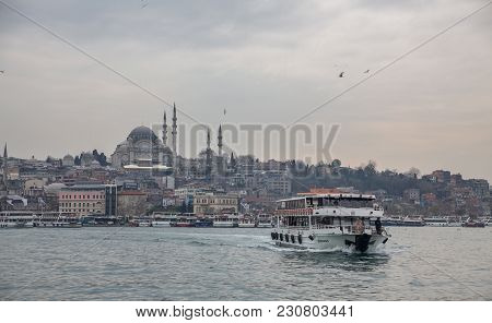 Istanbul - March 16: Skyline Of Istanbul With Mosque And Tourist Boat On March 16, 2014 In Istanbul,