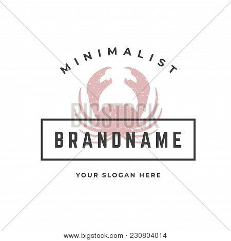 Crab Hand Drawn Logo Isolated On White Background Vector Illustration For Labels, Badges, T-shirt An