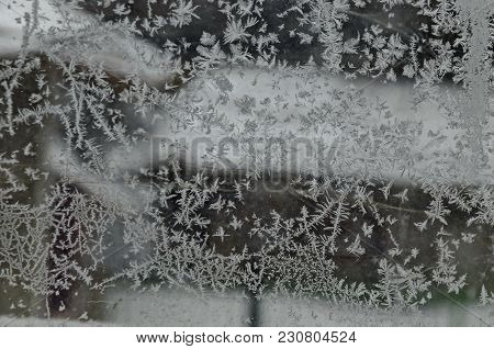 Background From Icy Figure On Window In Frosty Winter, Zavet, Bulgaria, Europe