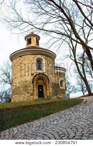 Preserved And Old St. Martin Rotunda In Vysehrad, Prague, Czech Republic