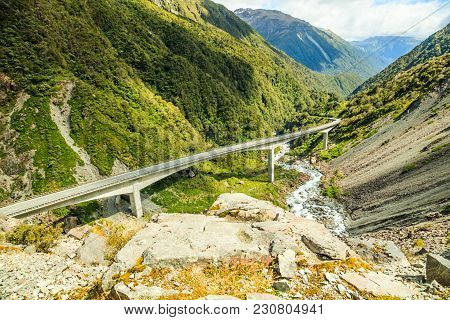 Beautiful Lookout View Of Arthur's Pass Highway On Otira Viaduct, Arthur's Pass National Park, Cante