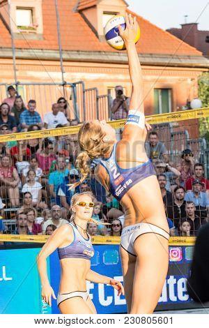 Ljubljana, Slovenia - July 22, 2017: German Kim Behrens Follows The Hit Of Anni Schumacher In The Fi