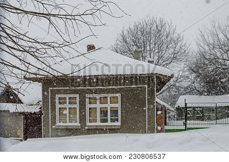 Majestic View Of Residential District  With Heavy Snowfall In Winter, Zavet, Bulgaria