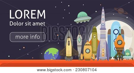 Rocket Ship In Cartoon Style. New Businesses Innovation Development Flat Design Icons Template. Spac