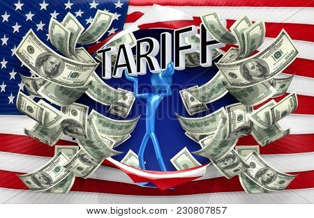 The Original 3D Character Illustration Holding The Word Tariff