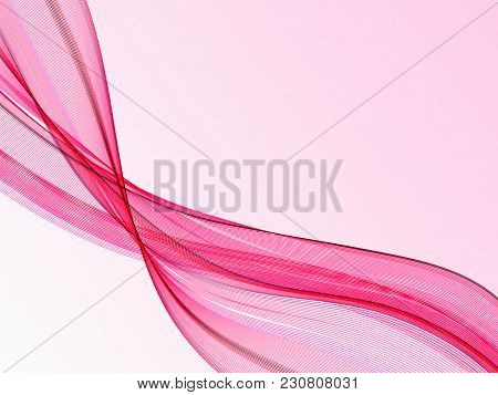 Abstract Pink Wave For Wedding Background. Vector Illustration