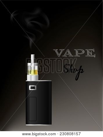 Electronic Cigarette Vaporizer Smoke.vape Shop. Vaporizer With Liquid. Vector.