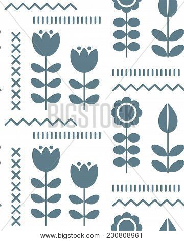 Floral Pattern For Surface Design In Scandinavian Style , Hygge Flowers, Transparent Background