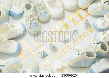 Dream Of Tomorrow. Many Pairs Of Baby Boy Newborn Blue And White Booties Sweet Light Stylish Frame O
