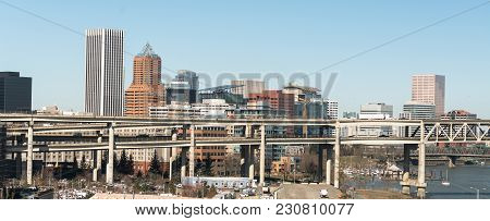 Cars And Trucks Come And Go By Highway Into And Out Of Portland Oregon North America