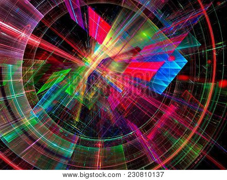 Colored Sci-fi Or Information Technology Background - Abstract Computer-generated 3d Illustration. T