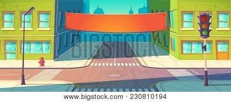 Vector Street Banner, Poster. Urban Advertising, Promotion Mockup. Template Of Placard Between Multi
