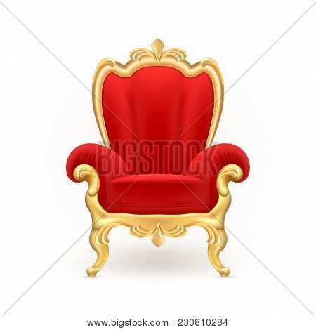 Vector Realistic Royal Throne, Luxurious Red Chair With Carved Golden Legs Isolated On Background. G