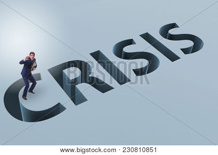 Businessman in financial crisis business concept
