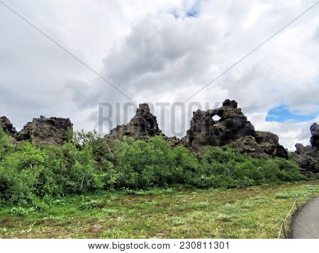 Landscape Of Dimmuborgir Area With Volcanic Caves And Rock Formations In Northeast Iceland, July 9,
