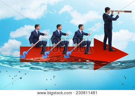 Teamwork concept with businessmen on boat