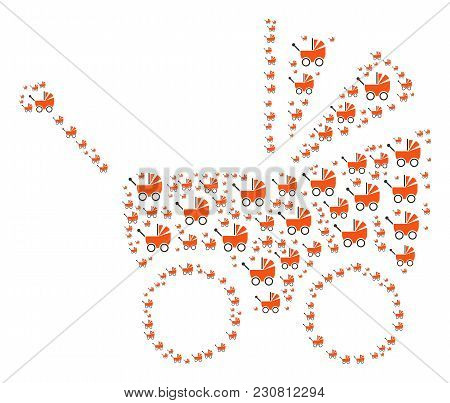 Baby Carriage Figure Constructed In The Figure Of Baby Carriage Pictograms. Vector Iconized Collage