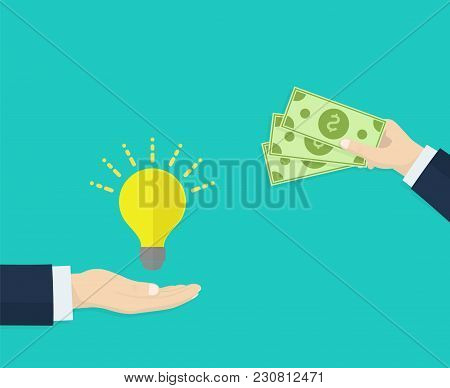 Hand Holds Money, Hand Holds Light Bulb. Investing In Innovation, Buy Ideas, Strategy, Modern Techno