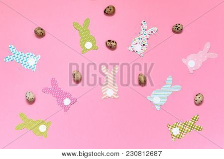 Easter Bunny Decoration And Eggs On Pink Background, Copy Space. Diy Holiday Handicraft Of Colorful