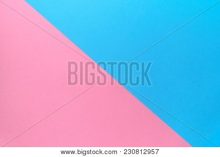 Creative Blank Paper Background With Two Tone Color. Blue And Pink Pastel Geometric Background, Copy