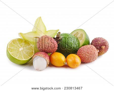 Ripe Juicy Tropical Summer Seasonal Fruits Lychee Citrus Carambola Kumquat Passion Fruit Feijoa. Exo