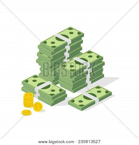Big Pile Of Cash. Concept Of Big Money. Hundreds Of Dollars And Coins. Vector Isometric Illustration