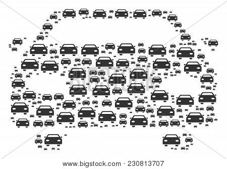 Car Figure Designed In The Figure Of Car Design Elements. Vector Iconized Composition Constructed Wi