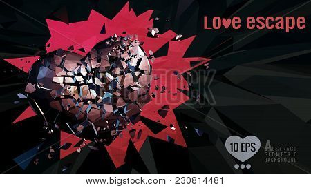Polygonal Abstract Broken Heart Breaking The Dark Polygon Wall Background