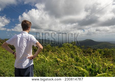 Teenager Enjoying A View Of Tropical Landscape In Guadeloupe, Caribbean. Morne A Louis Viewpoint Tow