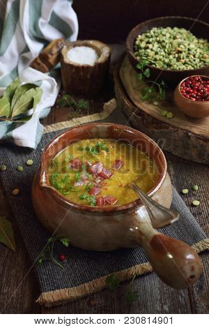Traditional French Cuisine: Pea Soup Potage Saint-germain. Rustic Style
