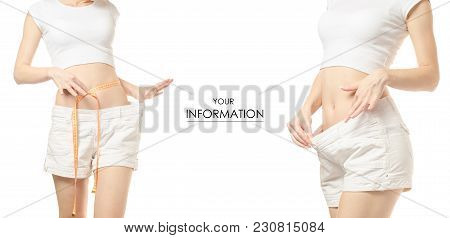 Young Woman Weight Loss Weight Loss With A Centimeter Set Pattern On A White Background Isolation