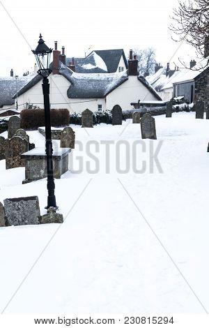 Drewsteignton, Devon, United Kingdom, 02/03/2018:- Snow Covered Landscape During The Beast From The