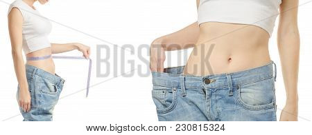 Young Woman In Jeans Weight Loss Weight Loss With A Centimeter Set On A White Background Isolation