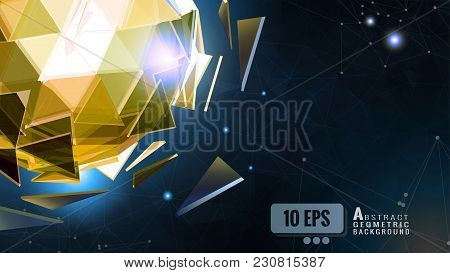 Golden Polygonal Abstract Triangle Sphere Combination On Low Poly Connect Dots Graphic Template Back