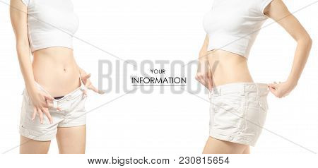 Young Woman Weight Loss Weight Loss Set Pattern On A White Background Isolation