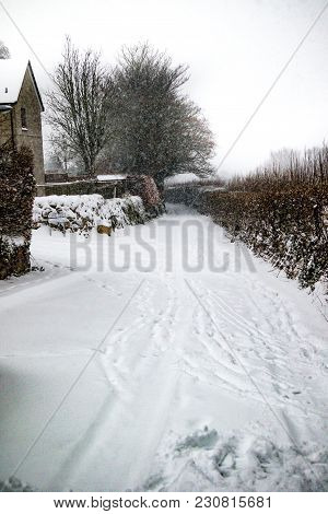 Drewsteignton, Devon, United Kingdom, 01/03/2018:- Snow Covered Landscape During The Beast From The