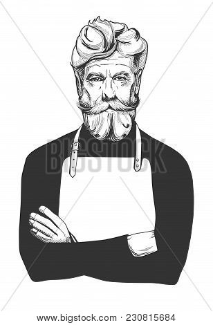 Vector Illustration Of An Attractive Man In Age With A Full Beard And Moustaches Wearing Apron. Cook