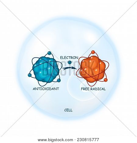 Antioxidant Working Principle Abstract Vector Representation, Illustration Of A Process Of Electron