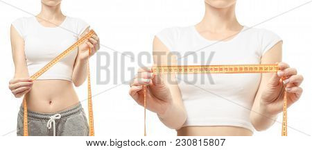 Young Woman Weight Loss Weight Loss With A Centimeter Set On A White Background Isolation