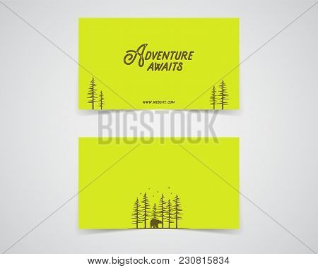 Clean Business Card Template. Mountain, Forest, Hiking Adventure Concept With Trees. Green, Eco Colo