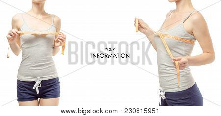 Young Woman Weight Loss Weight Loss With A Centimeter Breast Set Pattern On A White Background Isola
