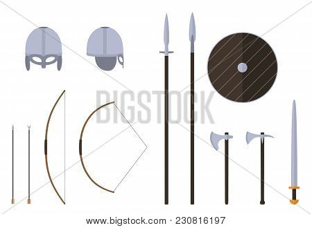 Viking Weapons And Armors Set. Viking Warrior Equipment. Sword, Axe, Spear, Pike, Bow, Arrows Helmet